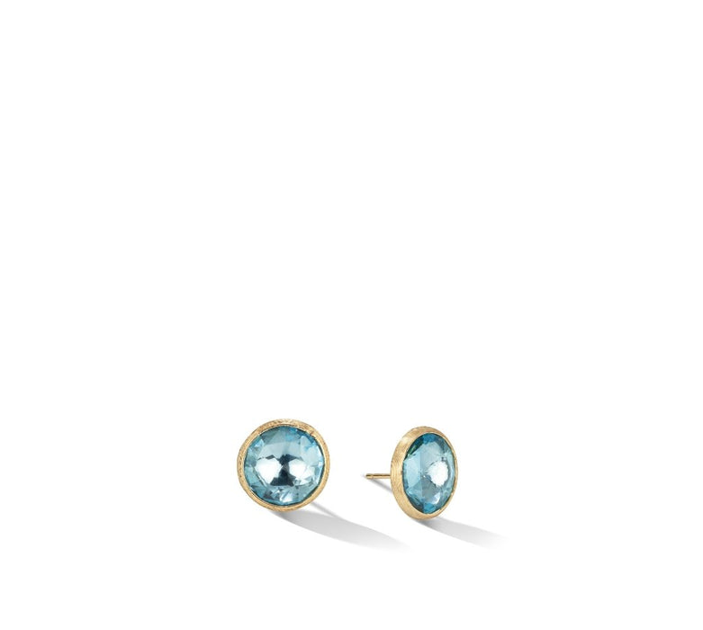 Jaipur Color Collection 18K Yellow Gold and Blue Topaz Large Stud
