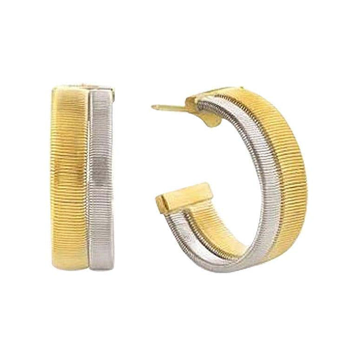 Masai Two Row Hoop Earrings in Yellow and White Gold
