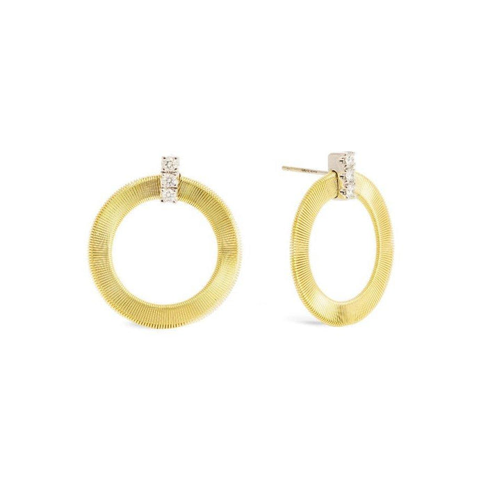Masai Front Facing Hoop Earrings with Diamond in Yellow Gold