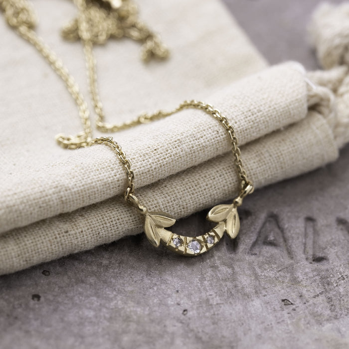 Diamond Olive and Arch Pendant in Yellow Gold