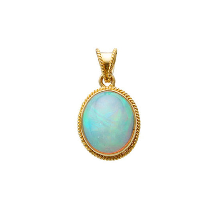 Oval Opal Pendant with Braid Detail
