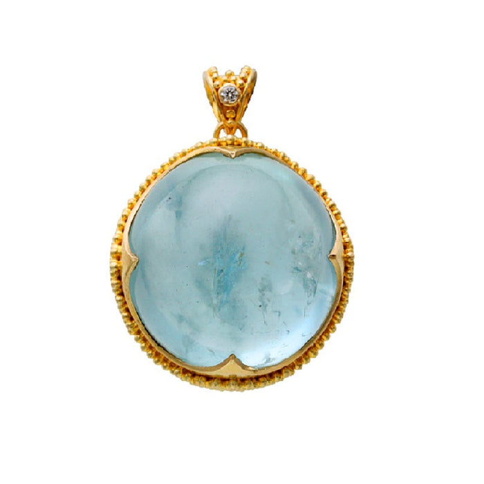 Round Aquamarine Pendant with Diamond Accent