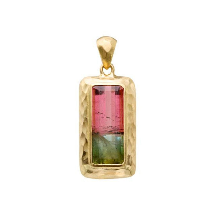 Watermelon Tourmaline Pendant in Yellow Gold