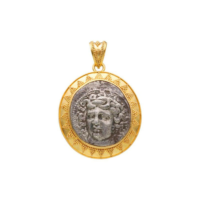 Large Ancient Nymph Coin Pendant in Yellow Gold