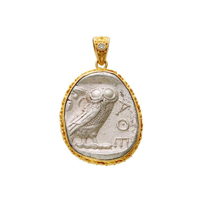 Athena Owl Coin Pendant with Diamond in Yellow Gold
