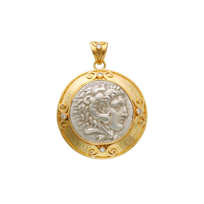 Large Herakles Coin Pendant with Diamond in Yellow Gold