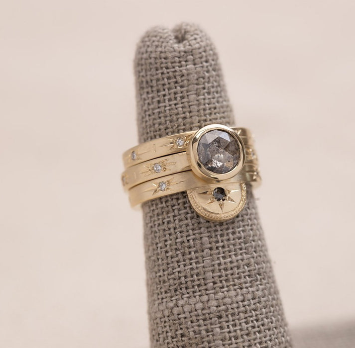 Half Moon Luna Ring with Diamond in Yellow Gold