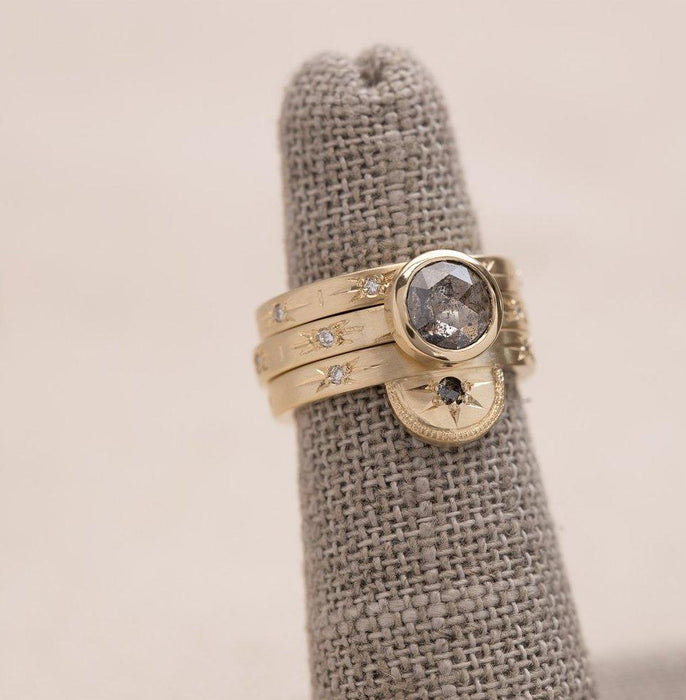 Salt and Pepper Luna Solitaire Diamond Ring in Yellow Gold