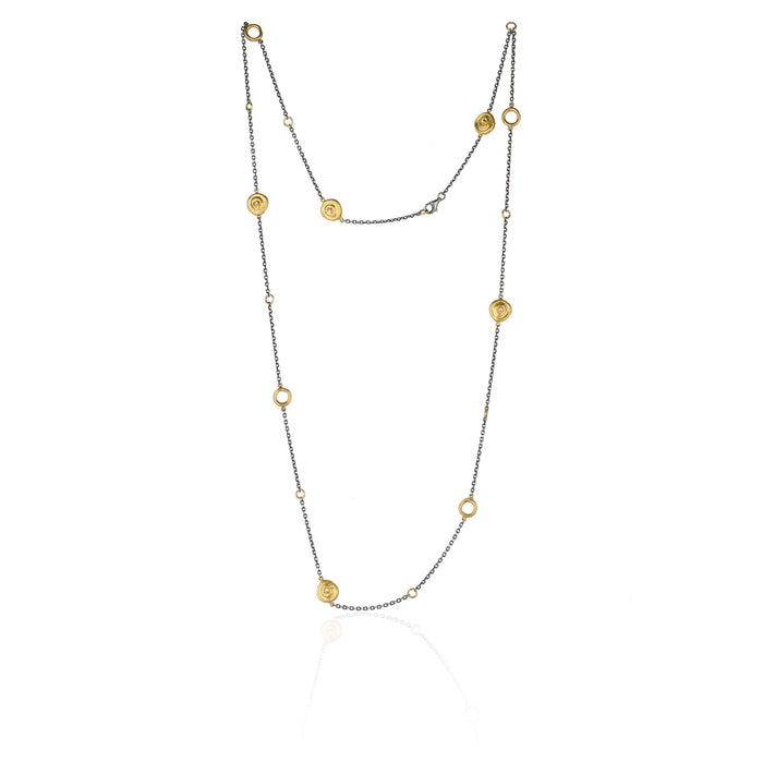 Diamond Roundabout Necklace in Yellow Gold and Oxidized Sterling Silver