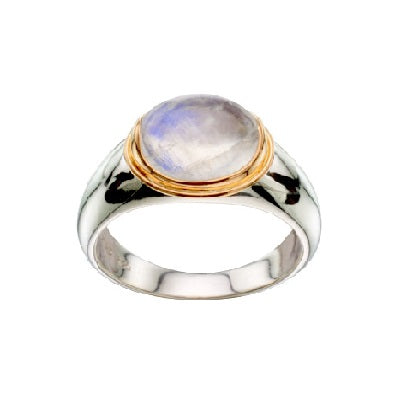 Moonstone Oval Two Tone Ring
