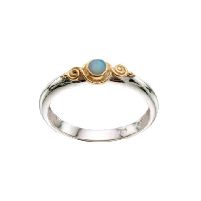 Small Opal Two Tone Ring