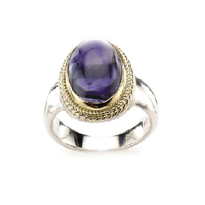 Iolite Oval Two Tone Ring