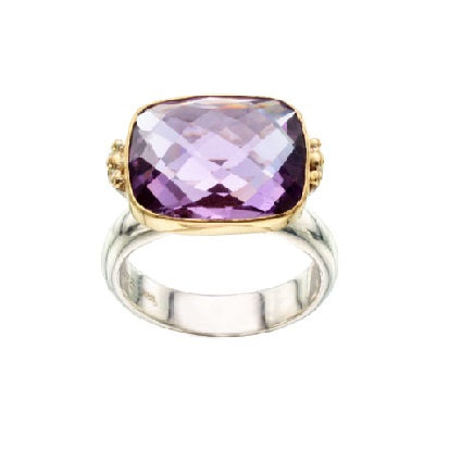 Briolette Amethyst Two Tone Ring