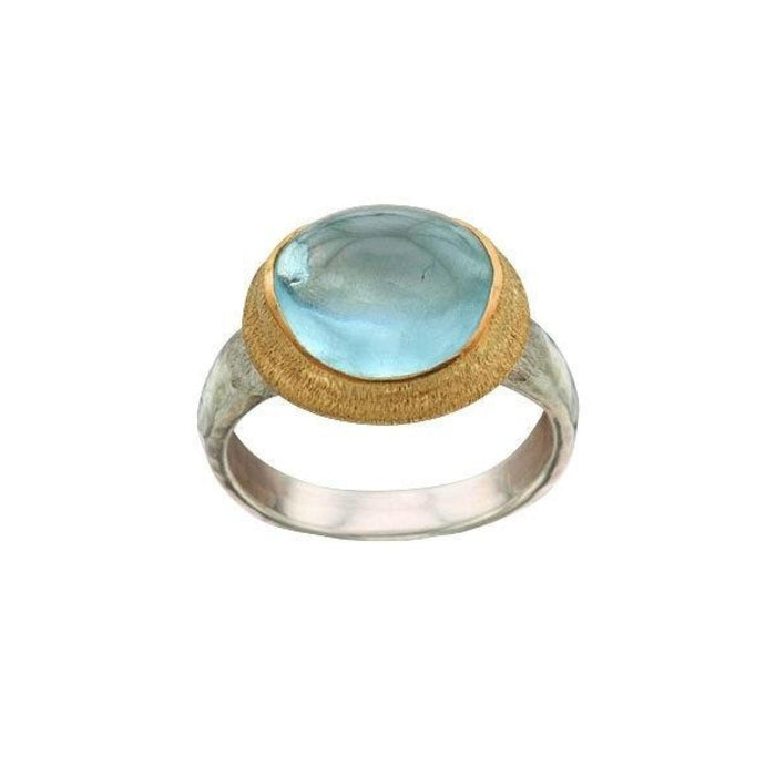 Aquamarine Ring in Sterling Silver and Yellow Gold