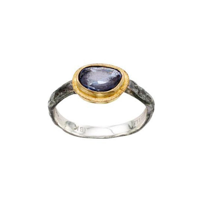 Blue Sapphire Ring in Yellow Gold and Oxidized Sterling Silver