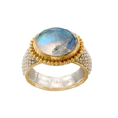 Blue Moonstone Granulated Ring