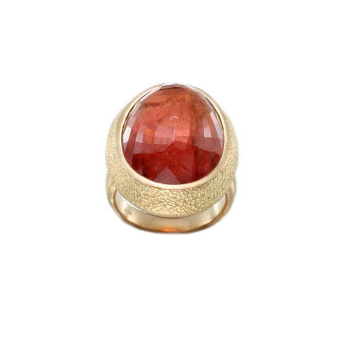 Large Oval Pink Tourmaline Ring in Yellow Gold