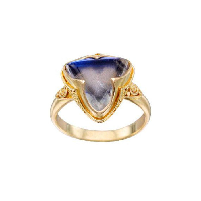 Triangle Blue Moonstone Ring in Yellow Gold