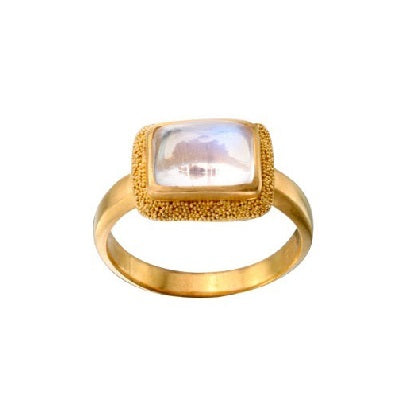 Rectangle Blue Moonstone Gold Ring