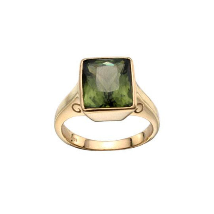 Green Tourmaline Ring in Yellow Gold