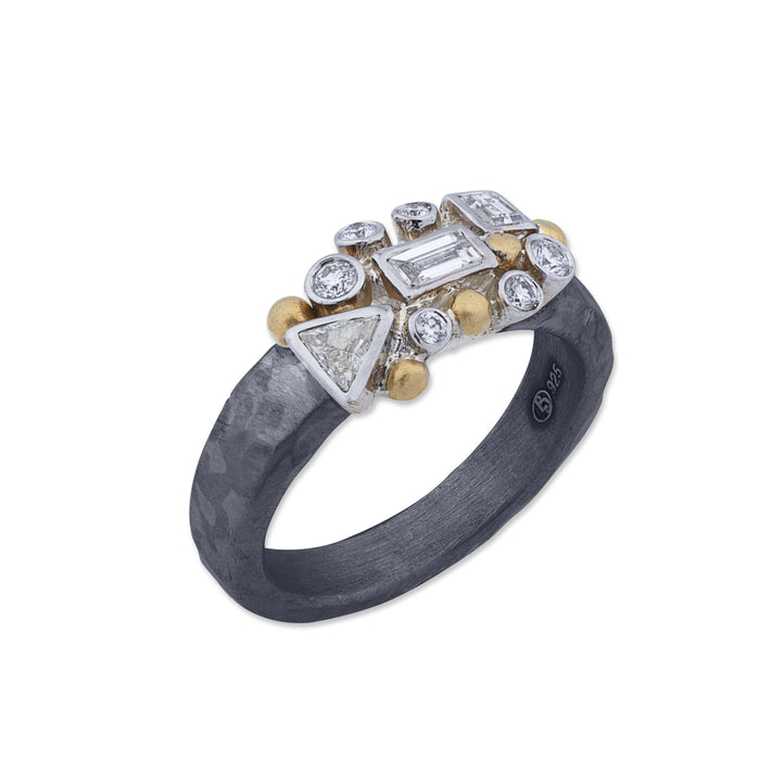 Diamond Scatter Ring in Yellow Gold and Oxidized Sterling Silver