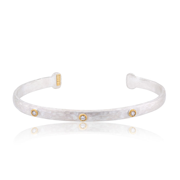 Diamond Bracelet in Sterling Silver and Yellow Gold