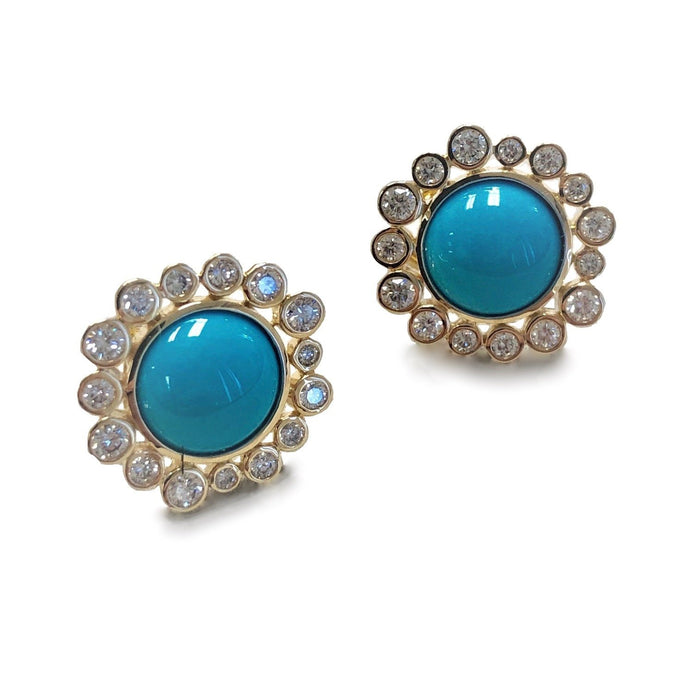 Turquoise Bauble Clip-Back Earrings with Champagne Diamonds in Yellow Gold