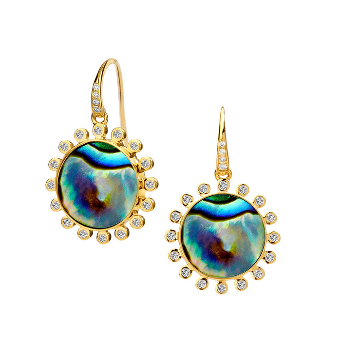 Abalone Earrings with Champagne Diamonds