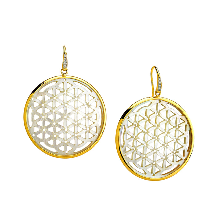 Flower of Life Mother of Pearl and Diamond Earrings