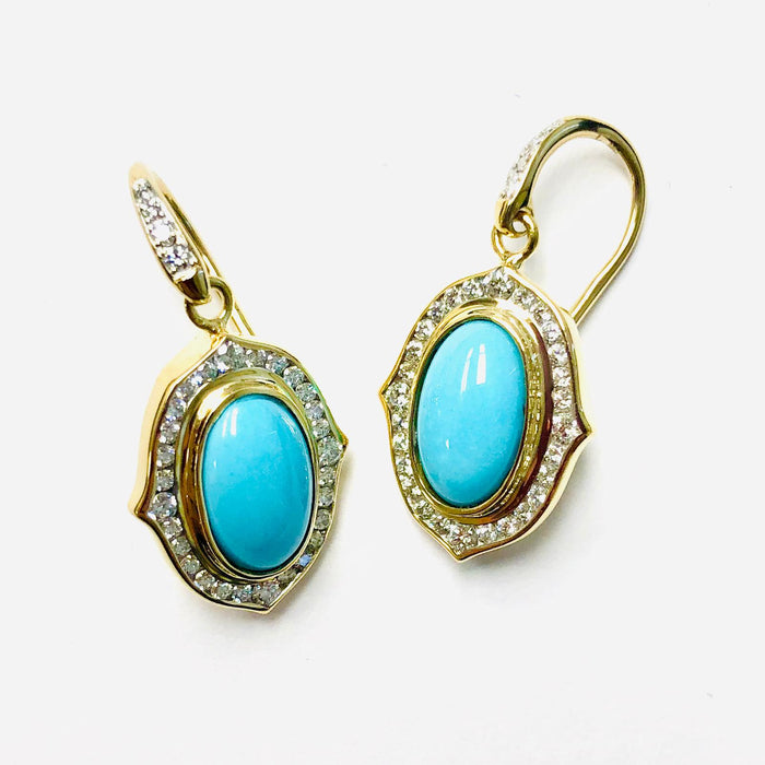Kamala Earrings with Turquoise and Diamonds in Yellow Gold