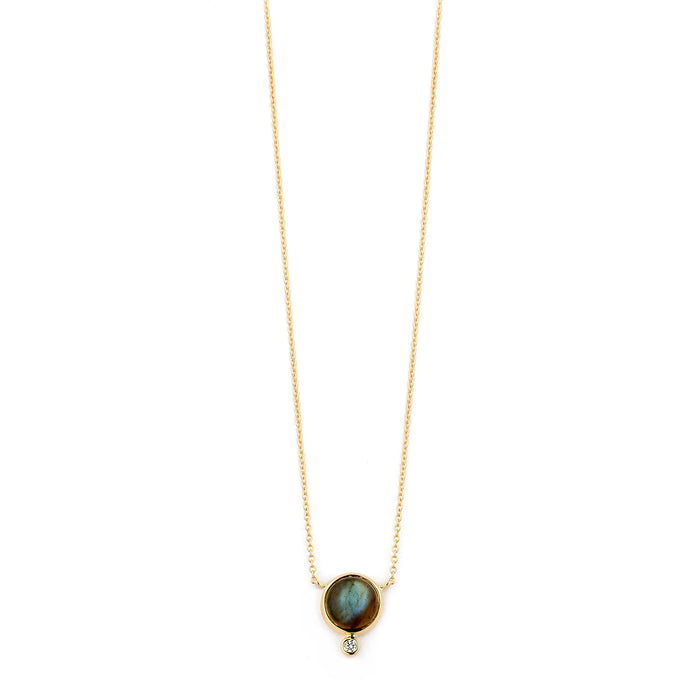 Labradorite Bauble Necklace with Champagne Diamond in Yellow Gold