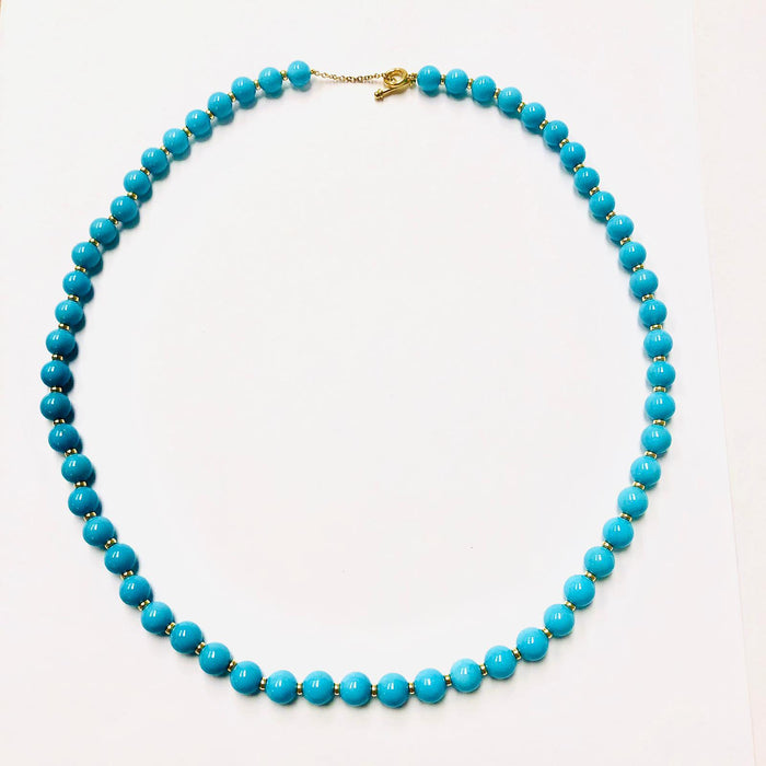 Sleeping Beauty Turquoise Bead Necklace in Yellow gold