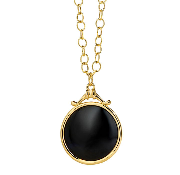 Large Black Spinel Chakra Pendant in Yellow Gold