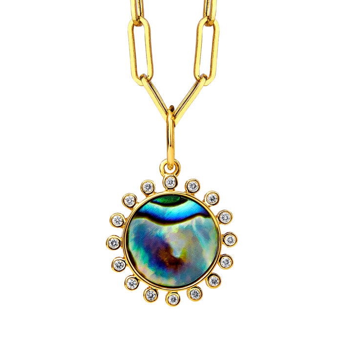 Abalone Pendant with Champagne Diamonds