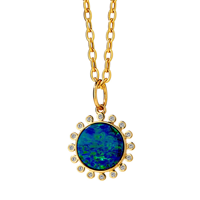 Australian Opal Pendant with Champagne Diamonds in Yellow Gold