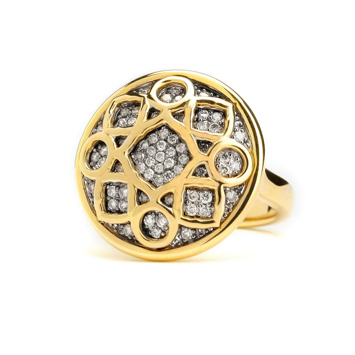Big Mogul Ring with Champagne Diamond in Yellow Gold