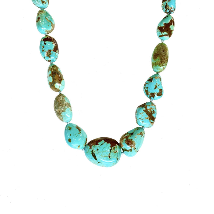 Graduated Turquoise Nugget Necklace in Sterling Silver