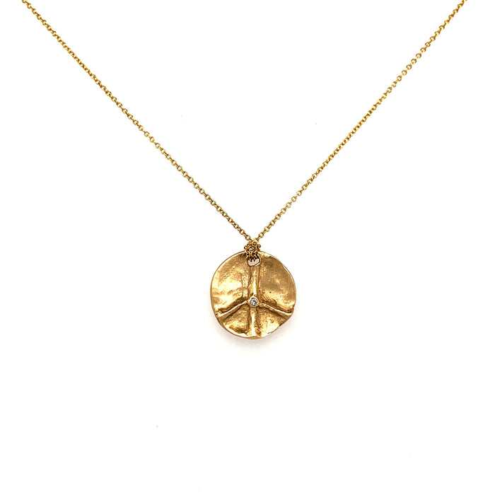 Peace Diamond Necklace in Yellow Gold