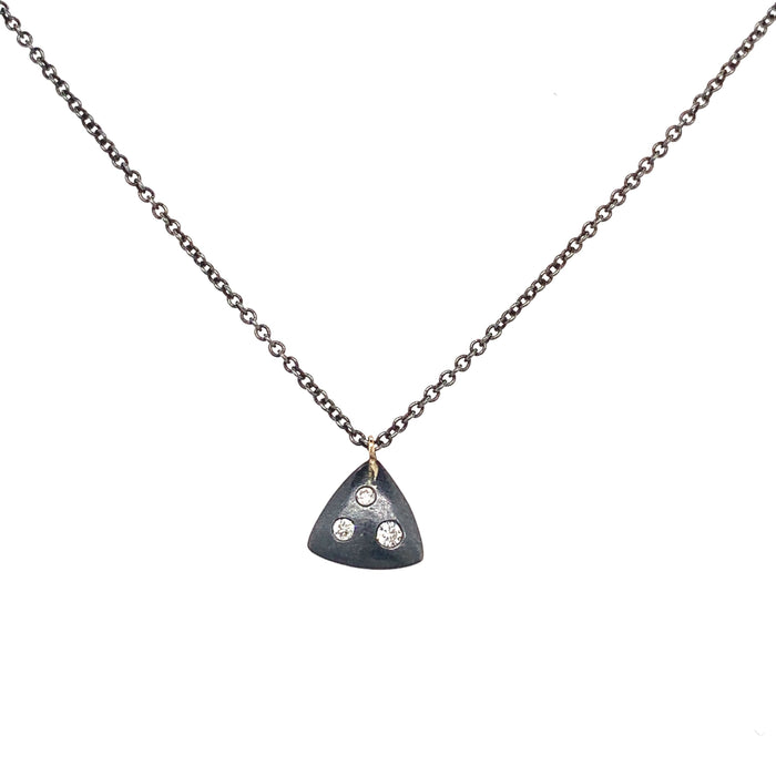 Triangle Silver and Diamond Necklace