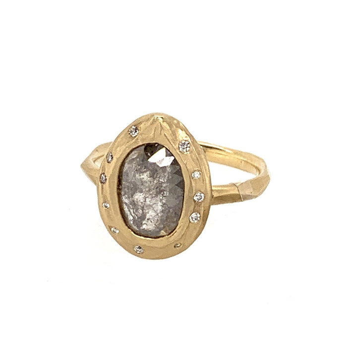 Walnut Gray Diamond Ring in Yellow Gold