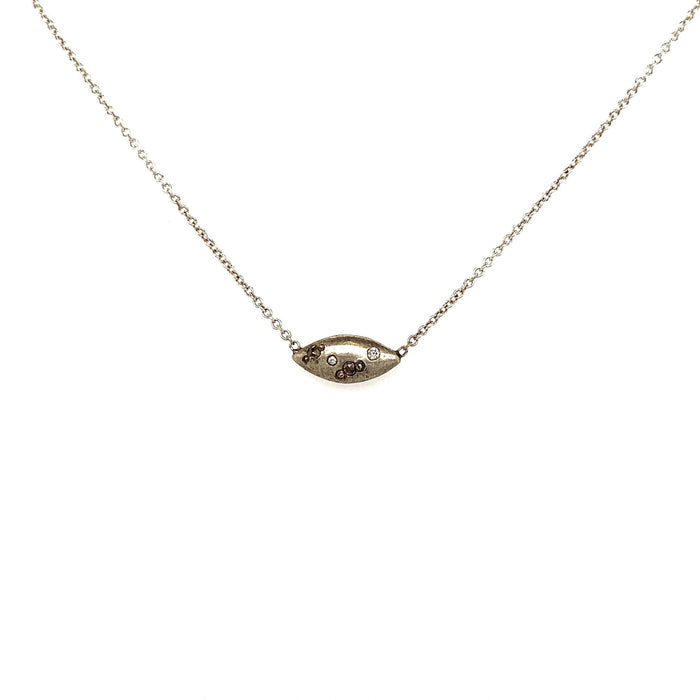 Oval Silver and Diamond Necklace