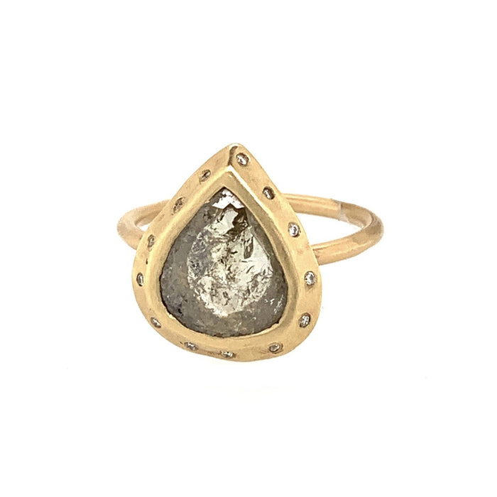 Rosecut Pear-Shaped Ring in Yellow Gold