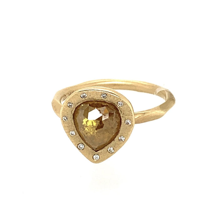 Pear-Shaped Orange Diamond Ring in Yellow Gold