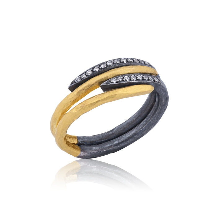 Diamond Four Layer Zebra Ring in Yellow Gold and Oxidized Sterling Silver