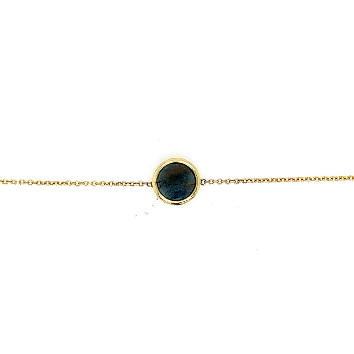Bezel Set Blue Sapphire Bracelet in Yellow Gold