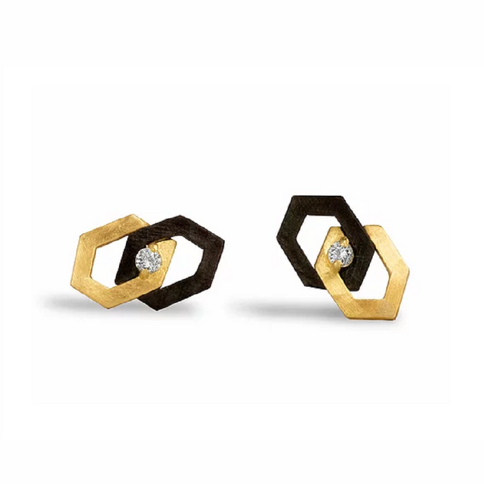 Hex Diamond Interlock Stud Earrings