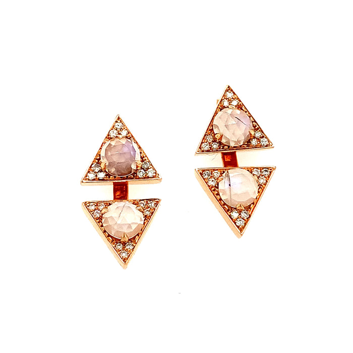 Trillion Moonstone Jacket Studs in Rose Gold