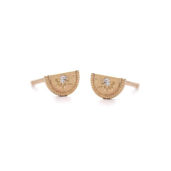 Mini Half Moon Stud Earrings with White Diamond in Yellow Gold