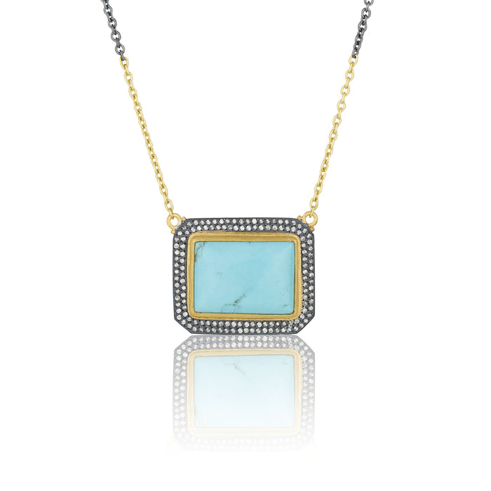 "Rectangular Kingman Turquoise ""My World"" Double Halo Necklace in Yellow Gold and Oxidized Sterling Silver"