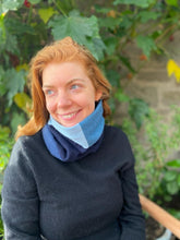 Load image into Gallery viewer, Reversible Snood - Multi Blue Square / Blue
